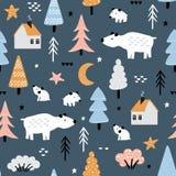 Childish background with polar bears stock illustration