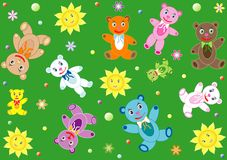 Childish background with teddy bears Stock Photos