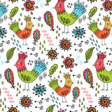 Childish birds pattern Stock Photo