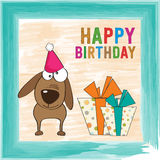 Childish birthday card with funny dog Stock Images