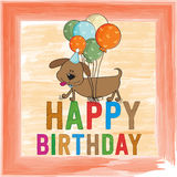 Childish birthday card with funny dog Royalty Free Stock Photography