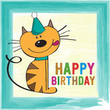 Childish birthday card with funny little cat Royalty Free Stock Photos