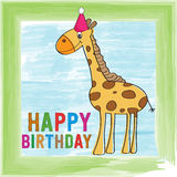 Childish birthday card with giraffe Stock Photography