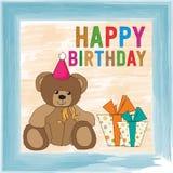 Childish birthday card with teddy bear Royalty Free Stock Photography