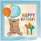 Childish birthday card with teddy bear Royalty Free Stock Photos