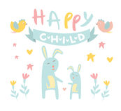 Childish Bunny with Mom Flat Vector Illustration Royalty Free Stock Image