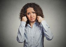 Childish business woman, funny looking upset making baby faces crying Royalty Free Stock Photos