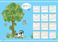Childish calendar 2011. With kitten and butterflies Royalty Free Stock Image