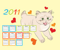 Childish calendar 2011. With funny kitten Royalty Free Stock Image