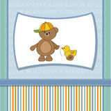 Childish card with boy teddy bear  duck Royalty Free Stock Photo