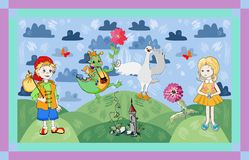 Childish card with fairyland. Cute vector illustration. Stock Images