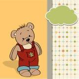 Childish card with funny teddy bear Stock Photo