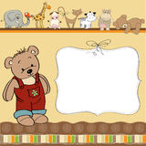 childish card with funny teddy bear Stock Images