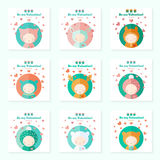Childish cards with cute characters for Valentines day. Cute cards set with funny fairytale characters. Vector invitations for Valentines day royalty free illustration