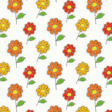 Childish cartoon flowers pattern Royalty Free Stock Image