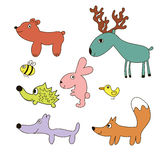 Childish cartoon forest wild animals Stock Images