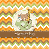 Childish cartoon greeting card Stock Image