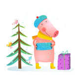 Childish cheerful little pig in winter warm clothes with fur tree and birds. Colorful cartoon for kids winter holidays Christmas or New Year Royalty Free Stock Photo