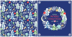 Free Childish Christmas Greeting Design With Seamless Wallpaper And Xmas Wreath Royalty Free Stock Image - 181948776