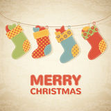 Childish Christmas illustration with colorful stockings stock illustration
