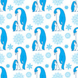 Childish Christmas and New Year vector seamless pattern cute penguins and snowflakes.  Stock Image