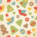Childish Christmas seamless pattern with Christmas trees, birds, gingerbread men Stock Images