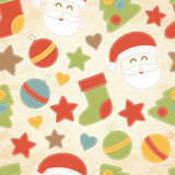 Childish Christmas seamless pattern with Santa Claus, Christmas trees, baubles and stockings vector illustration