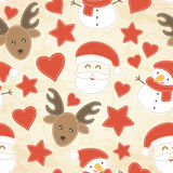 Childish Christmas seamless pattern with Santa Claus, Christmas trees, baubles and stockings Royalty Free Stock Image