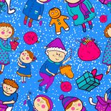 Childish christmas vector seamless pattern Stock Photography
