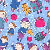 Childish christmas vector seamless pattern Royalty Free Stock Photo