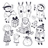 Childish christmas vector set in cartoon style Stock Photography
