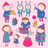 Childish christmas vector set in cartoon style Stock Photo