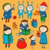 Childish christmas vector set in cartoon style Royalty Free Stock Photos