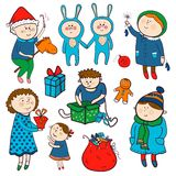 Childish christmas vector set in cartoon style Stock Photos
