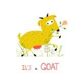 Childish Colorful Fun Cartoon Goat Eating Flower Stock Photography