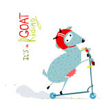 Childish Colorful Fun Cartoon Goat Riding Scooter Stock Photo