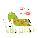 Childish Colorful Fun Cartoon Horse in Grass Field Stock Photo