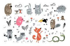 Free Childish Cute Animals. Cartoon Hand Drawn Wild Animals Scandinavian Style For Fabric, Wrapping, Textile, Wallpaper, Apparel Stock Photos - 191795173