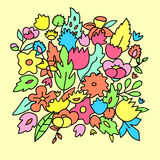 Childish cute pastel colored flowers, vector template Stock Photos