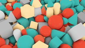 Random Shape Figures Covering Background. A childish 3d illustration of casual shape background from big and small red and blue balls, cubes, sticks, cones stock illustration