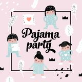 Childish Design with Cute Girls in Pajamas vector illustration