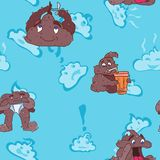 Childish design seamless pattern with poops stock illustration