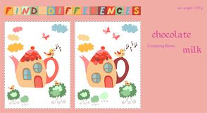 Childish design template. Chocolate packaging with game for kids - Find differences between two beautiful fairy houses - teapots.  Stock Photos