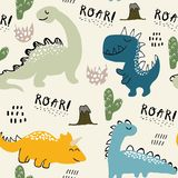 Childish dinosaur seamless pattern for fashion clothes, fabric, t shirts. hand drawn vector with lettering stock image