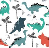 Childish dinosaur seamless pattern for fashion clothes, fabric, t shirts. hand drawn vector with lettering. royalty free stock images
