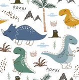 Childish dinosaur seamless pattern for fashion clothes, fabric, t shirts. hand drawn vector with lettering. royalty free stock photography