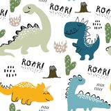 Childish dinosaur seamless pattern for fashion clothes, fabric, t shirts. hand drawn vector with lettering.  royalty free illustration
