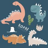 Childish dinosaur vector set for fashion clothes, fabric, t shirts. hand drawn vector with lettering.  royalty free illustration