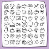 Childish doodle icon set Royalty Free Stock Photo
