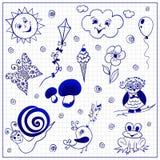 Childish doodles on paper sheet Stock Images